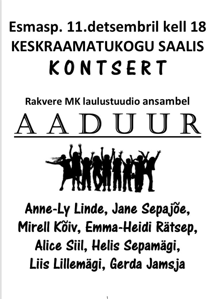 ed5fc4e8560 Aaduuri kontsert 11.12 kell 18 - Rakvere kultuurikeskus