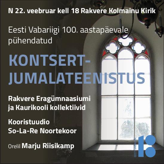 4ca3af24fdf Kontsert-jumalateenistus 22.02 - Rakvere kultuurikeskus